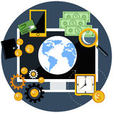 Global finance and economy. Flat design concept of global finance and economy with digital devices Stock Image