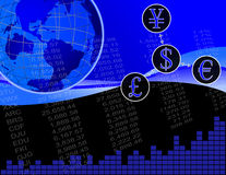 Global Finance. An Illustration of Global Finance. A Dollar Symbol, a Euro Symbol, a Pound sign and a Yen Symbol. A Scalable Vector Image Stock Image