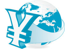 Global Finance - Yen. Rastered illustration of earth with currency yimbol Stock Images
