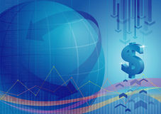 Global financial background. Global financial index background in blue Stock Photography