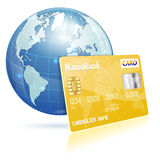 Global Financial Concept. With Credit Card and Earth, vector icon isolated on white Stock Photography