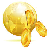 Global Financial Concept. With Money Bitcoins and Earth, vector icon isolated on white Stock Photography
