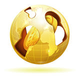 Global Financial Concept. With Coin and Earth, vector icon  on white Stock Images