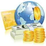 Global Financial Concept. With Credit Card, Money and Earth, vector icon  on white Royalty Free Stock Image