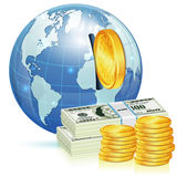 Global Financial Concept. With Money and Earth, vector icon isolated on white Stock Photos