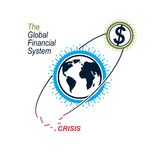 Global Financial Crisis conceptual logo, unique vector symbol. B Stock Images