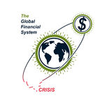 Global Financial Crisis conceptual logo, unique vector symbol. B. Anking system. The Global Financial System. Circulation of Money Stock Photo