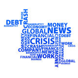 Global financial crisis text news web Royalty Free Stock Photos