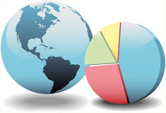 Global financial economy pie chart world. World globe and a 3D global financial economy pie chart Stock Photography