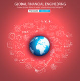 Global Financial Engineering concept with Doodle design style Royalty Free Stock Photos