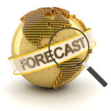 Global financial forecast symbol with globe, 3d. Render, white background Royalty Free Stock Images