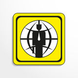 The global financial leader. Vector icon. Black-and-white object on a yellow background. Stock Photo