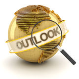 Global financial outlook symbol with globe, 3d. Render, white background Stock Photos