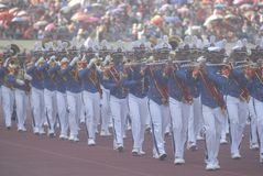 GLOBAL FIREPOWER RANK. Indonesian Military Academy Cadet's Drum Band perform at the opening of World Military Parachuting Championship at Solo, Java, Indonesia Stock Photo