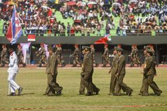 GLOBAL FIREPOWER RANK. North Korean Military Contingent at the opening of World Military Parachuting Championship at Solo, Java, Indonesia. The globalfirepower Stock Photo