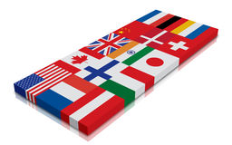 Global Flag. 3d Render with reflection royalty free illustration
