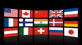 Global Flags. LCD Television - Global flags with Black background vector illustration