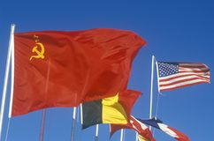 Global flags flying at the Albuquerque, NM Balloon Fiesta Royalty Free Stock Photos