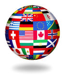 Global flags of the world. Floating globe covered with world flags Stock Photography
