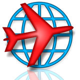 Global Flights. Emblem with blue globe and red airplane over white background Royalty Free Stock Photos