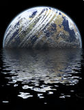 Global Floods. A 3D computer generated graphic illustration of a planet that looks like the world, Earth, being flooded in water Stock Image