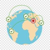 Global flyttningssymbol, plan stil royaltyfri illustrationer