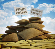 Global food crisis and drought warning. 3d high quality rendering Stock Image
