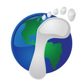 Global footprint. Illustration of a footprint on top of Earth, to symbolize the ecological footprint of mankind on the planet Royalty Free Stock Photos