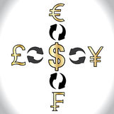Global Forex Trading 5 major currencies of the world - American Dollars, Japan's Yen, Swiss Francs British Pound, European Euro Royalty Free Stock Photos
