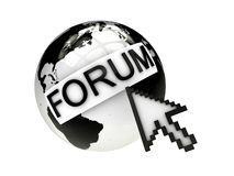 Global forum concept with earth and cursor Stock Images