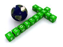 Global fresh ecosystem. Green cube letters spelling fresh, ecosystem in crossword fashion near a world globe Stock Photos