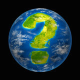 Global future. With warming uncertainty and questions featuring the planet earth with a continent in the shape of a question mark representing international Royalty Free Stock Photo