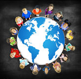 Global globaliseringvärldskarta miljö- Concservation Conce royaltyfri fotografi