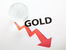 Global gold price drop concept Stock Images