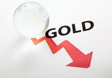 Global gold price drop concept Stock Photos