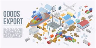 Global goods export concept banner, isometric style royalty free illustration