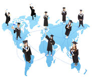 Global graduation Student social network Royalty Free Stock Photo