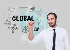 Global graphic. Business man drawing it. Digital composite of Global graphic. Business man drawing it Stock Photography