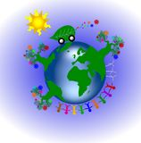 Global green planet. A global green planet illustration with people and trees Stock Image