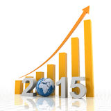 2015 global growth, 3d render. 2015 global growth with rising chart, 3d render Royalty Free Stock Photo