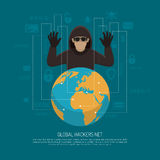 Global Hackers Net Symbolic Background Poster. Hackers threat warning flat poster with black criminal man figure behind terrestrial globe stock illustration