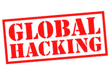 GLOBAL HACKING. Red Rubber Stamp over a white background Stock Photography