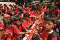 Global Handwashing Day in Indonesia. SURAKARTA, INDONESIA - October 23 : An elementary school students washing their hands using soap as it celebrates the Global Stock Images