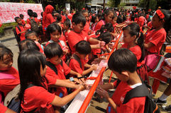 Global Handwashing Day in Indonesia. SURAKARTA, INDONESIA - October 23 : An elementary school students washing their hands using soap as it celebrates the Global Royalty Free Stock Photography