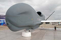 Global Hawk Unmanned Aircraft System. UAS system on display at Farnborough 2010 Royalty Free Stock Photos