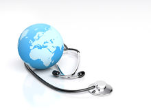 Global health care. Globe and Stethescope isolated on white background Stock Photography