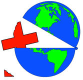 Global health care crisis. Earth opened up with broken first aid symbol - vector Stock Photography