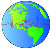 Global heart beat. Globe or earth with red heart beat pulsing across it - vector Royalty Free Stock Images
