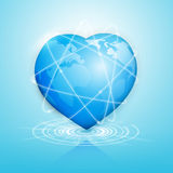 Global heart technology connection worldwide. Royalty Free Stock Image