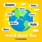 Global hello day concept background, flat style vector illustration